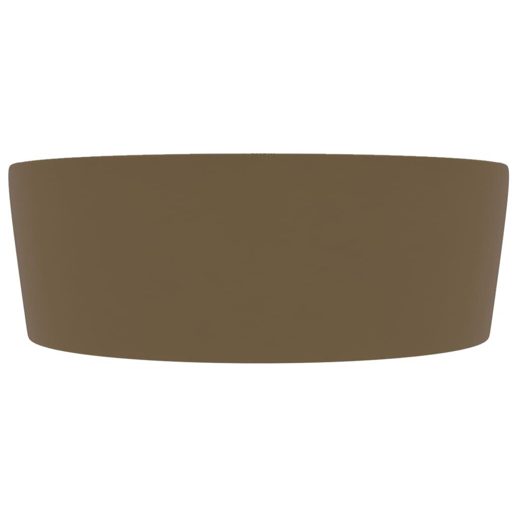 Chiuvetă de lux cu preaplin, crem mat, 36 x 13 cm, ceramică