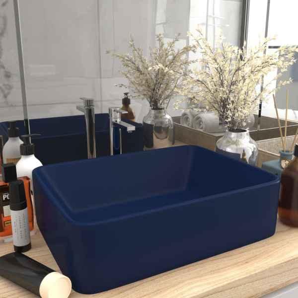 vidaXL Chiuvetă de baie lux, albasru închis mat, 41x30x12 cm, ceramică