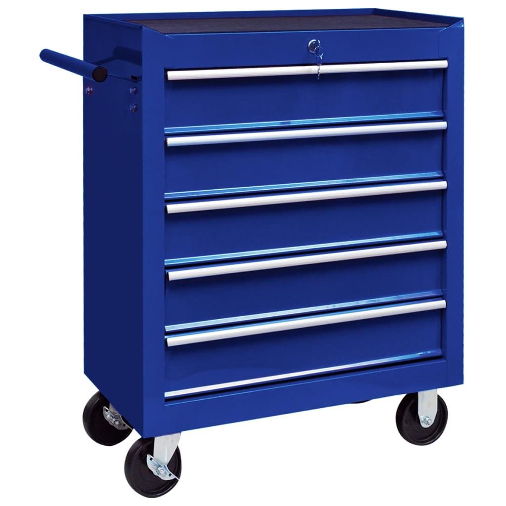 vidaXL Cărucior de scule pentru atelier cu 5 sertare, albastru