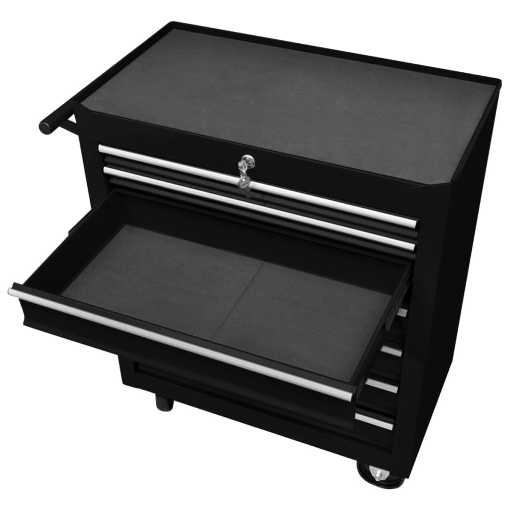 vidaXL Cărucior de scule pentru atelier cu 7 sertare, negru
