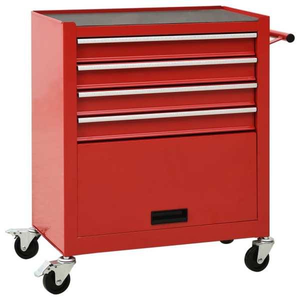 vidaXL Cărucior de scule cu 4 sertare, roșu, oțel