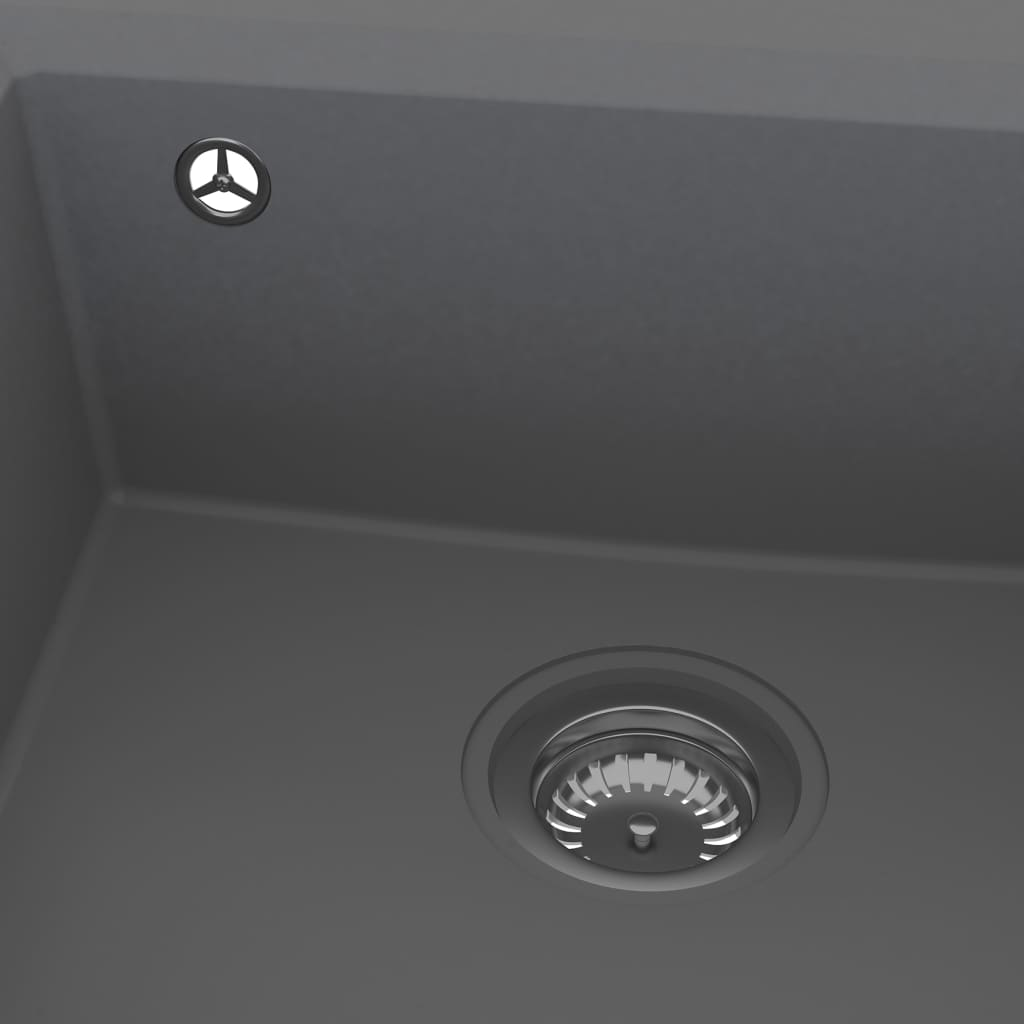 vidaXL Chiuvetă de bucătărie cu orificiu de preaplin, gri, granit