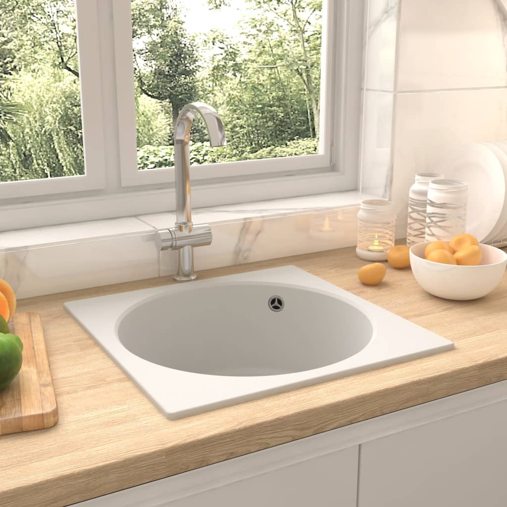 vidaXL Chiuvetă de bucătărie cu orificiu de preaplin, alb, granit