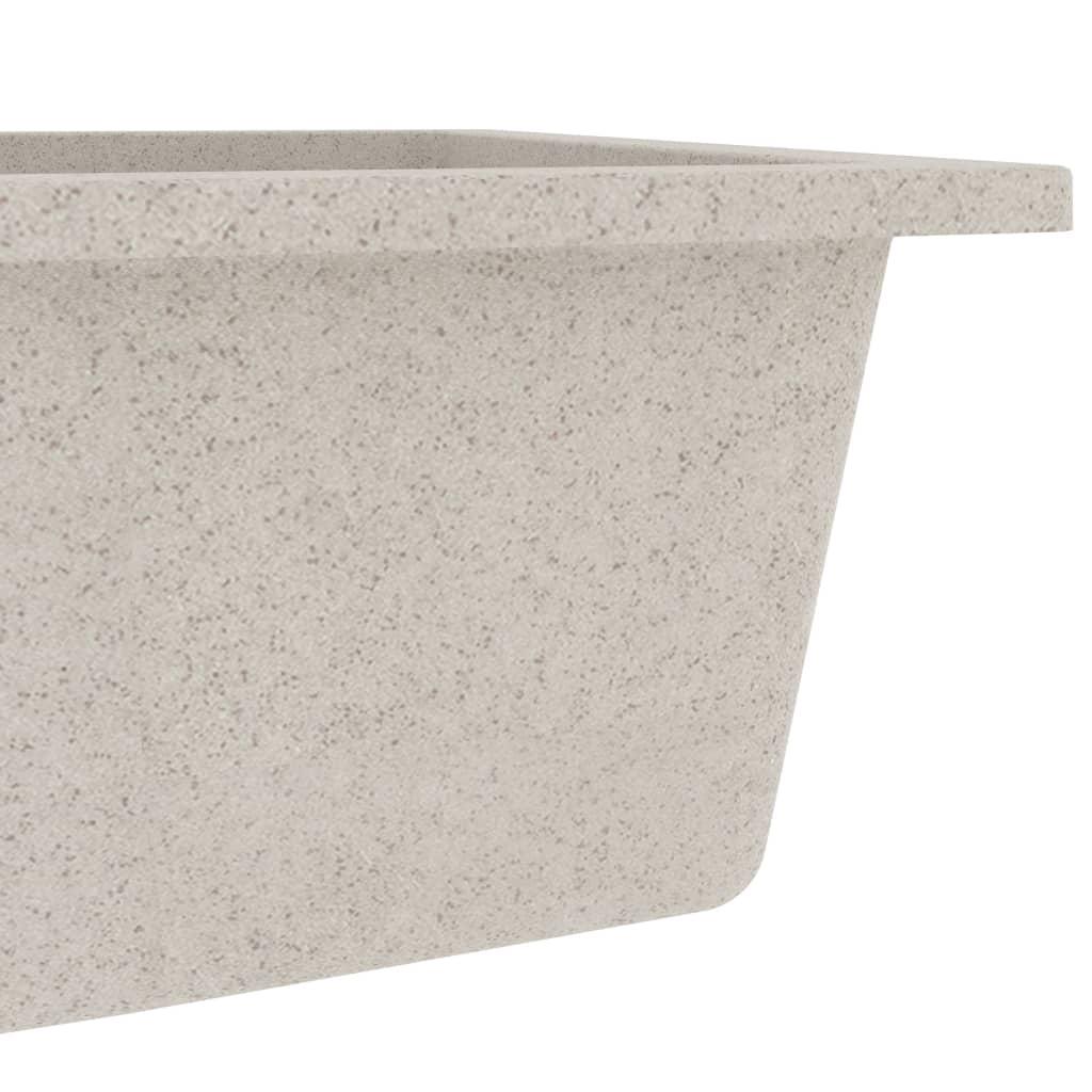 Chiuvetă de bucătărie cu orificiu de preaplin, bej, granit