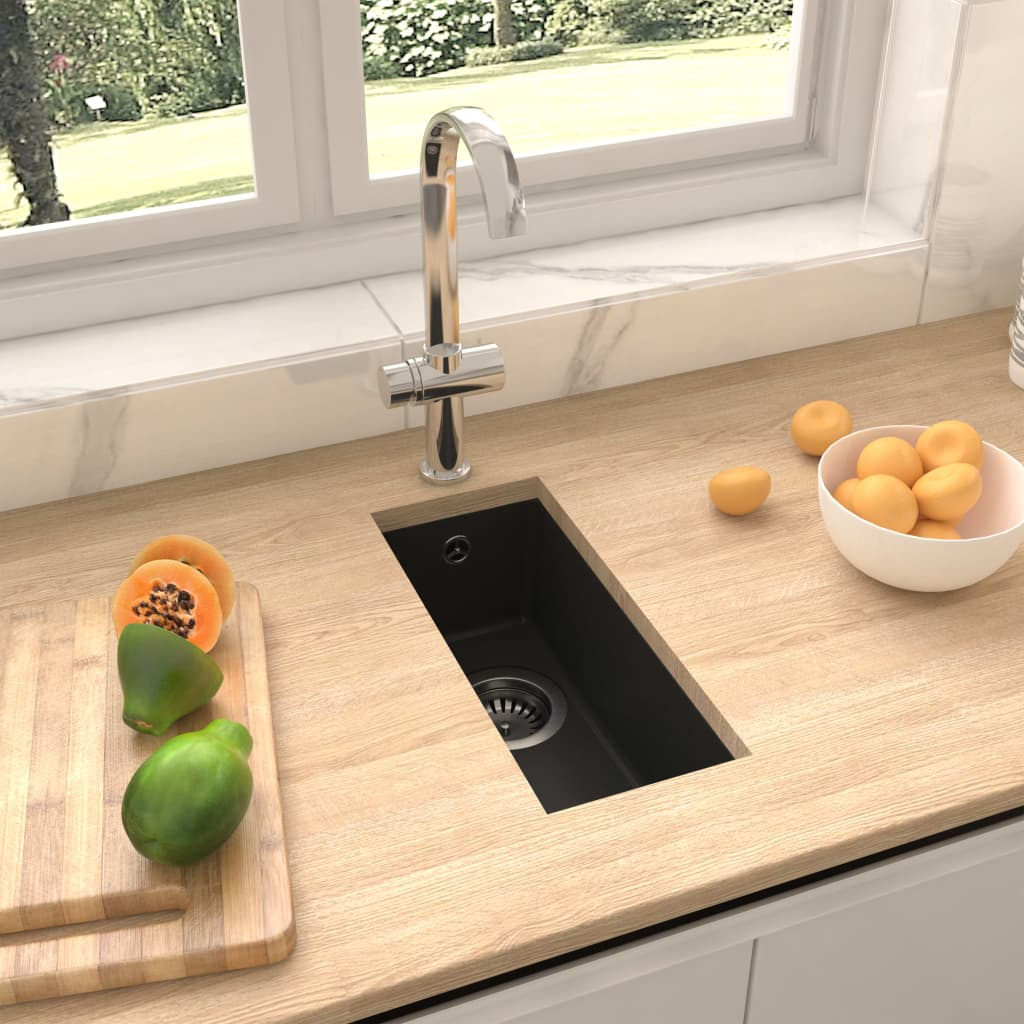 vidaXL Chiuvetă de bucătărie cu orificiu de preaplin, negru, granit
