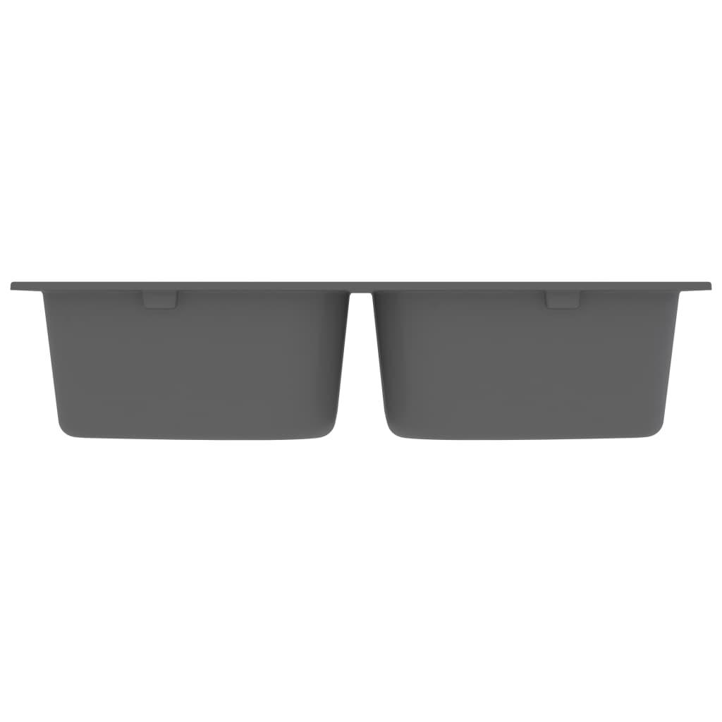 vidaXL Chiuvetă de bucătărie dublă cu orificiu de preaplin gri granit
