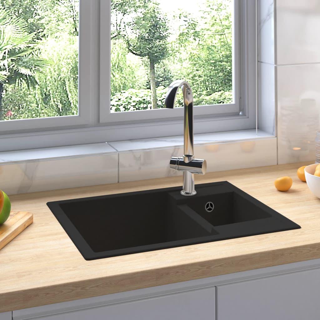 vidaXL Chiuvetă bucătărie dublă cu orificiu de preaplin, negru, granit