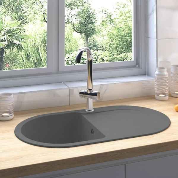 vidaXL Chiuvetă de bucătărie cu orificiu de preaplin, gri, oval, granit