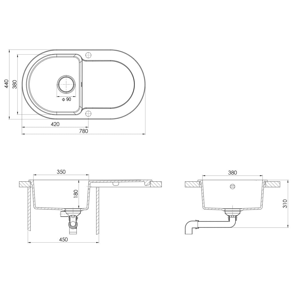 Chiuvetă de bucătărie cu orificiu de preaplin, bej, oval, granit