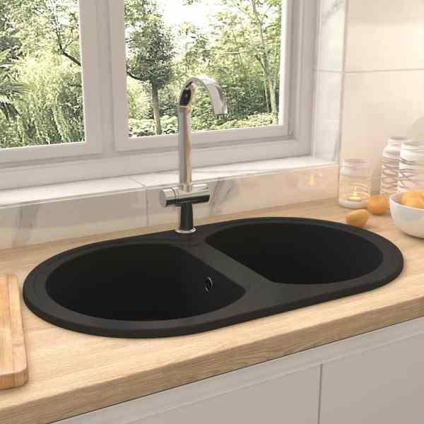 vidaXL Chiuvetă de bucătărie cu două cuve, negru, granit, oval
