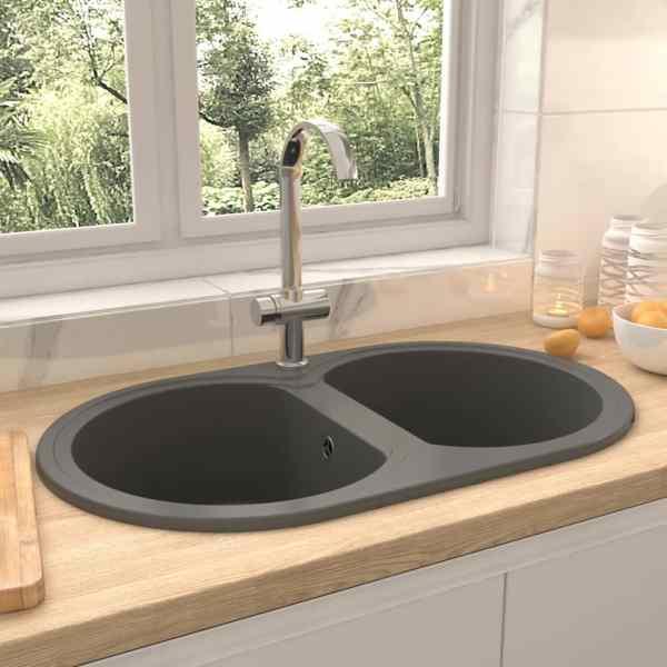 vidaXL Chiuvetă de bucătărie cu două cuve, gri, granit, oval
