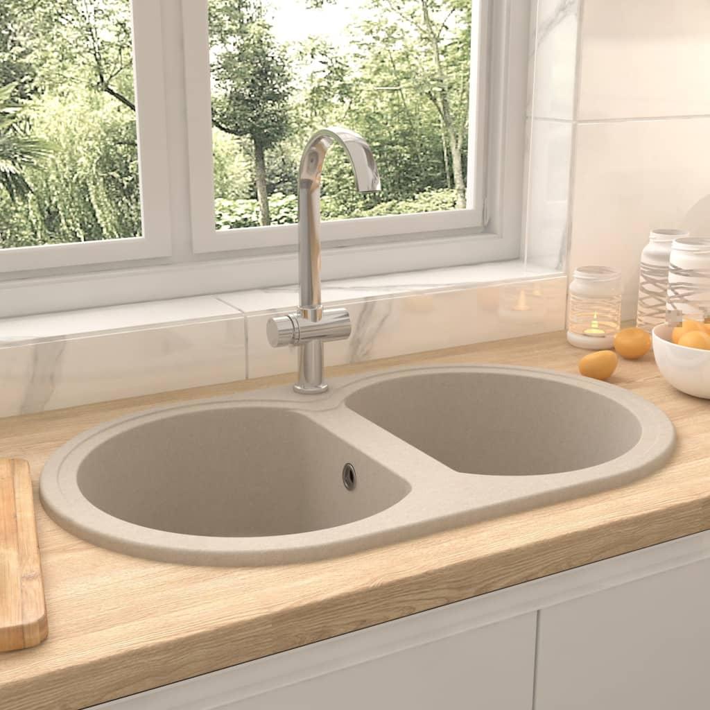 vidaXL Chiuvetă de bucătărie cu două cuve, bej, granit, oval