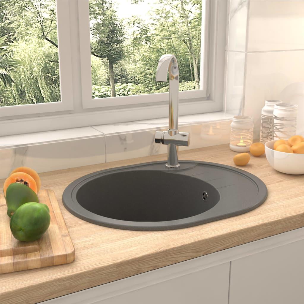 vidaXL Chiuvetă de bucătărie cu orificiu de preaplin, gri, granit oval