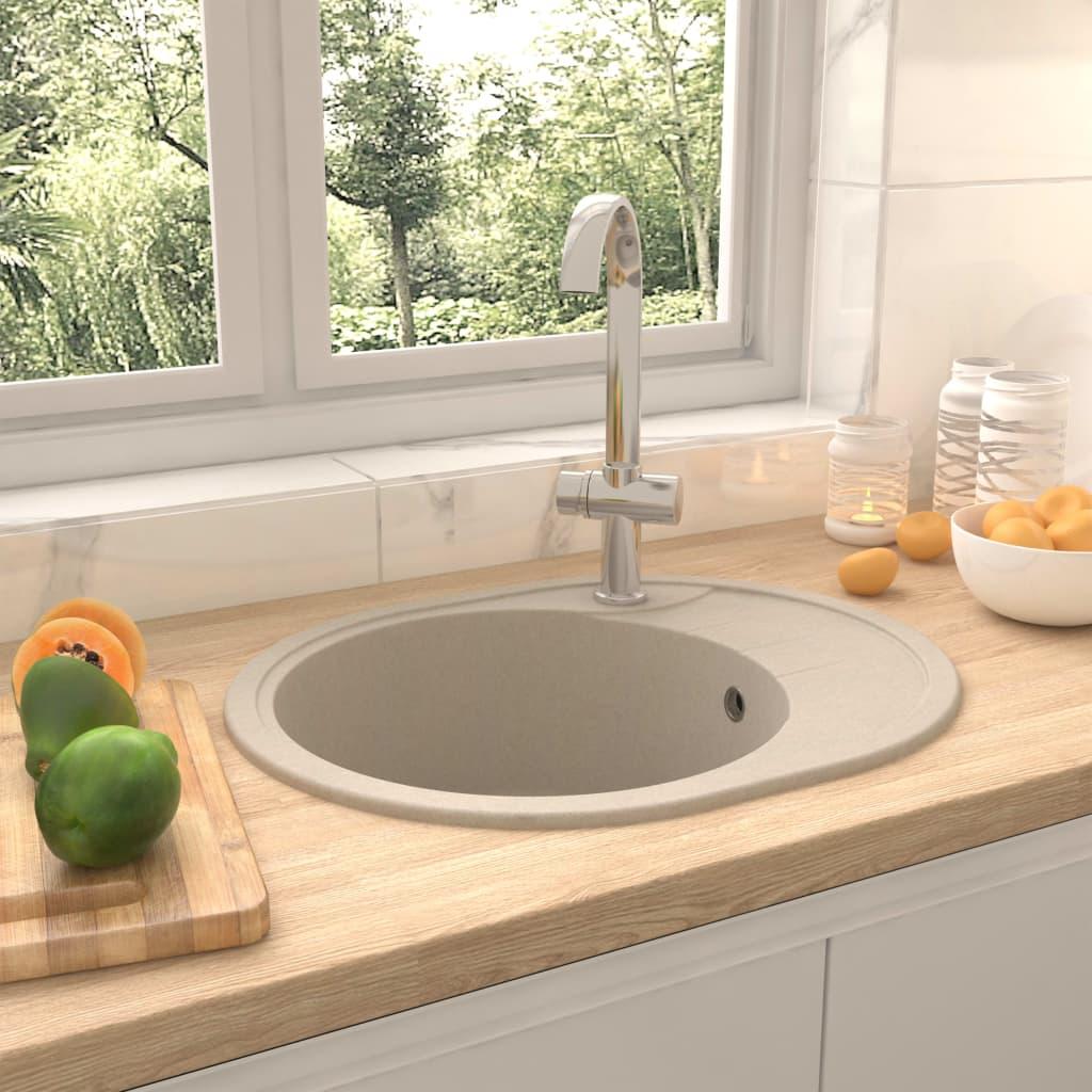 vidaXL Chiuvetă de bucătărie cu orificiu de preaplin, bej, granit oval