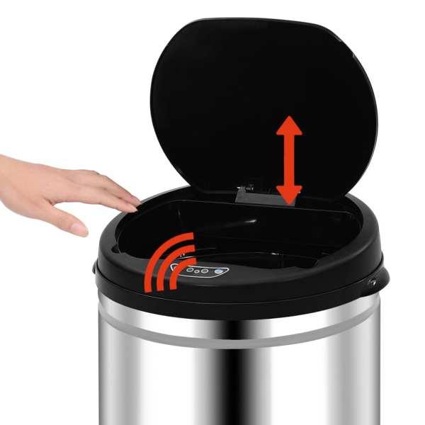 vidaXL Coș de gunoi automat cu senzor, 40 L, oțel inoxidabil