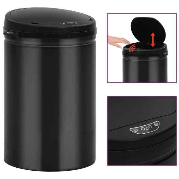 vidaXL Coș de gunoi automat cu senzor, 30 L, negru, oțel carbon