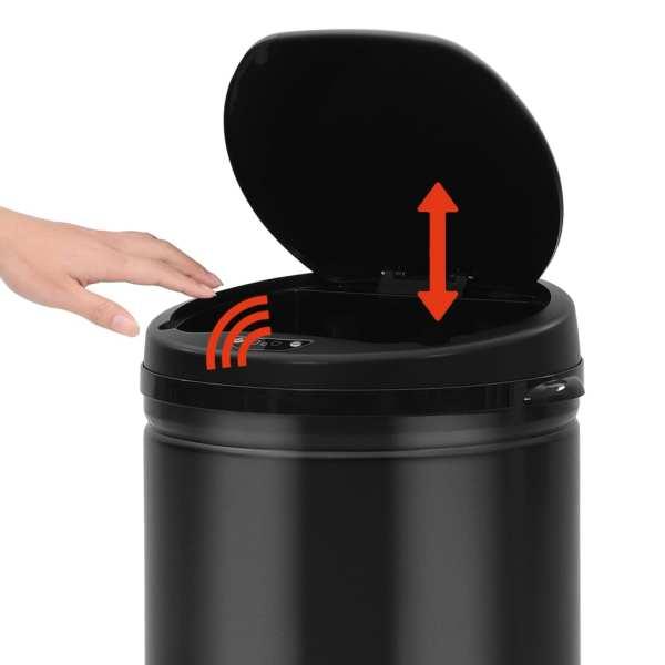 Coș de gunoi automat cu senzor, 30 L, negru, oțel carbon