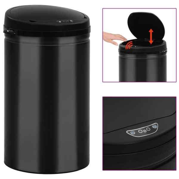 vidaXL Coș de gunoi automat cu senzor, 40 L, negru, oțel carbon