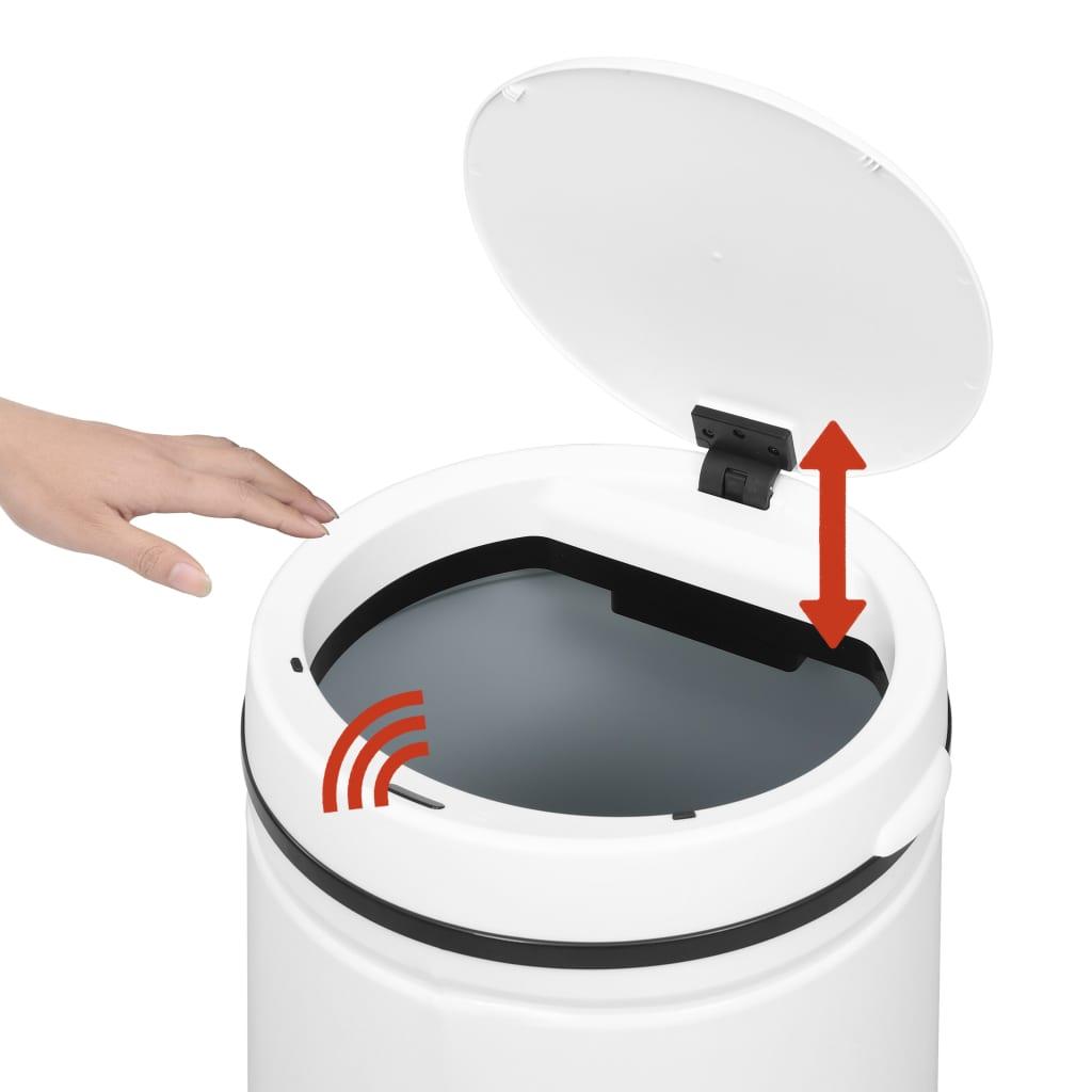 vidaXL Coș de gunoi automat cu senzor, 70 L, alb, oțel carbon