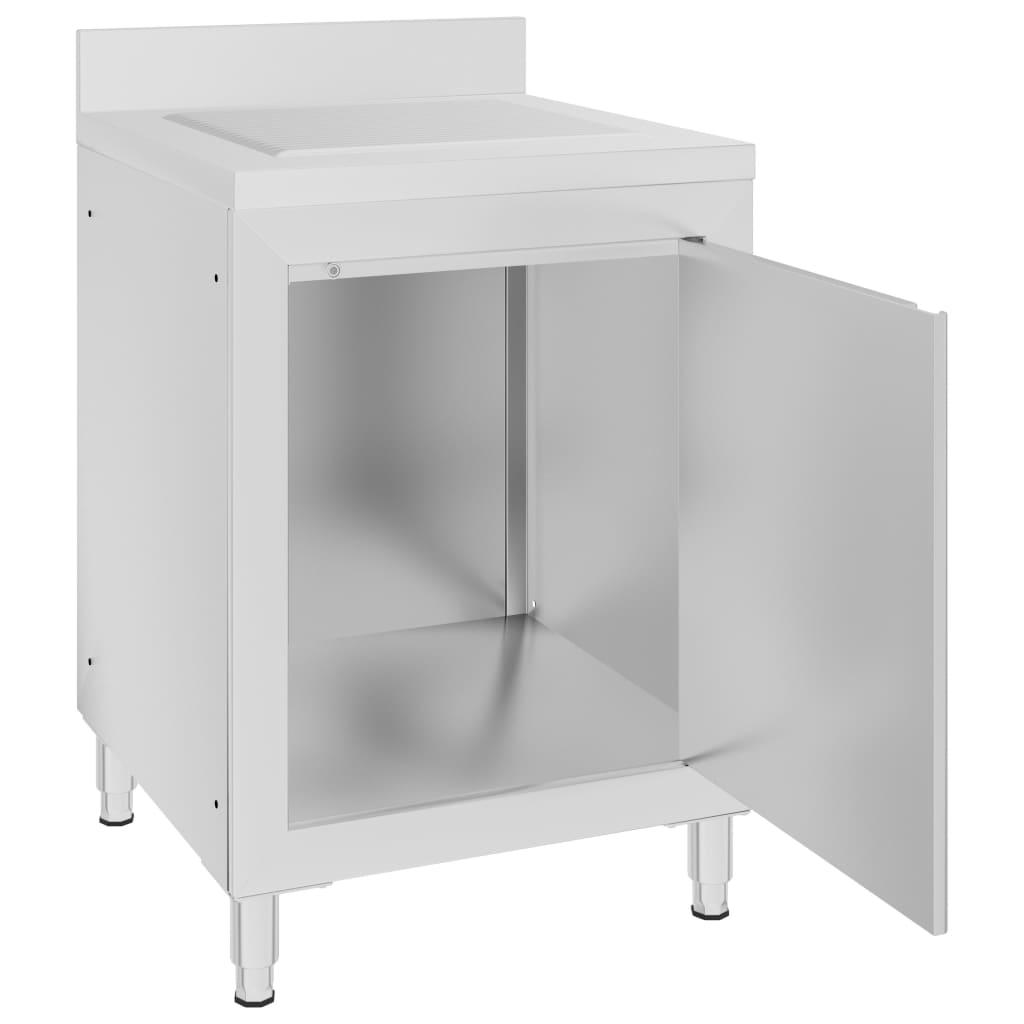 vidaXL Dulap de bucătărie comercial cu scurgător, oțel inoxidabil