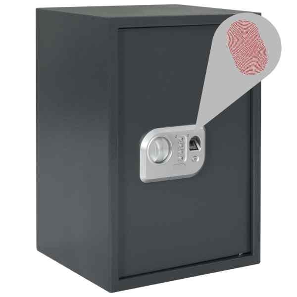 vidaXL Seif digital cu amprentă, gri închis, 35 x 31 x 50 cm