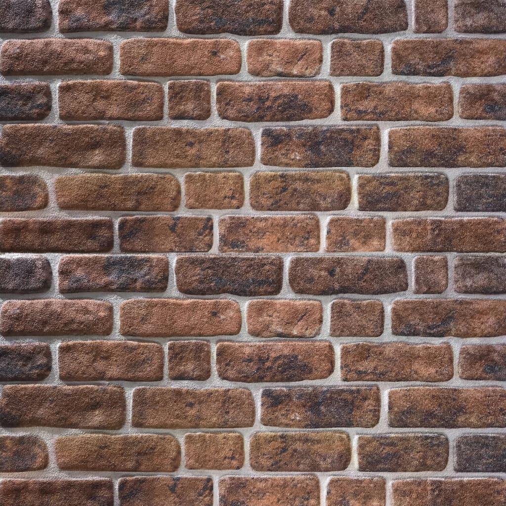 vidaXL Panouri de perete 3D, model cărămidă, maro închis, 11 buc., EPS