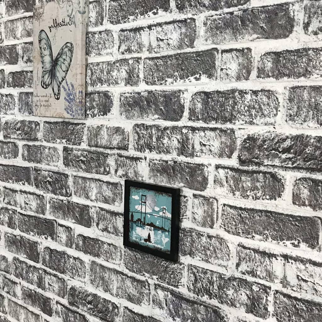 Panouri de perete 3D, model cărămidă, gri închis, 11 buc., EPS