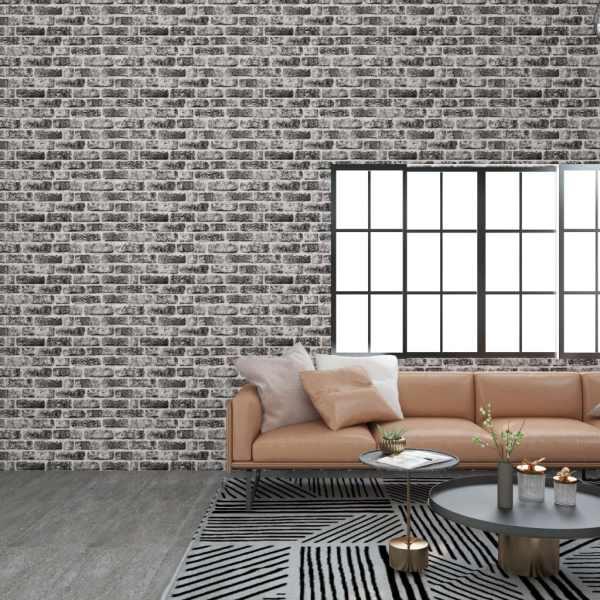 vidaXL Panouri de perete 3D, model cărămidă, gri închis, 11 buc., EPS