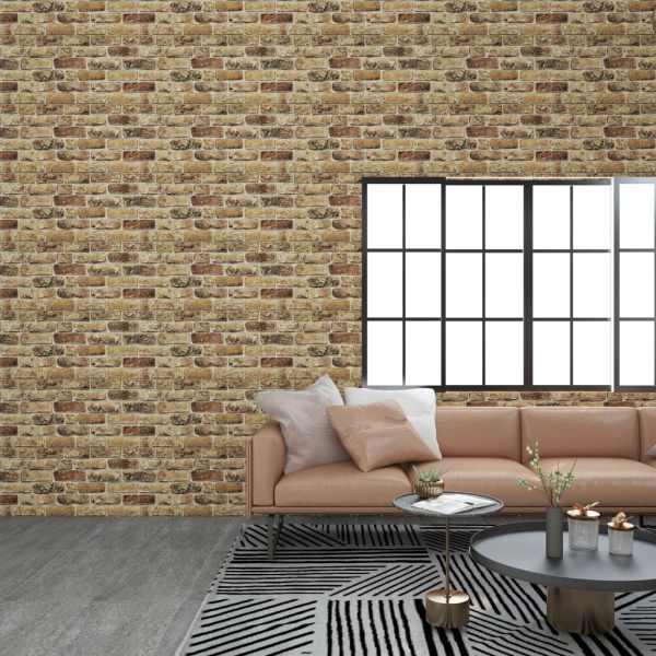 vidaXL Panouri de perete 3D, model cărămidă nisipiu închis 11 buc. EPS