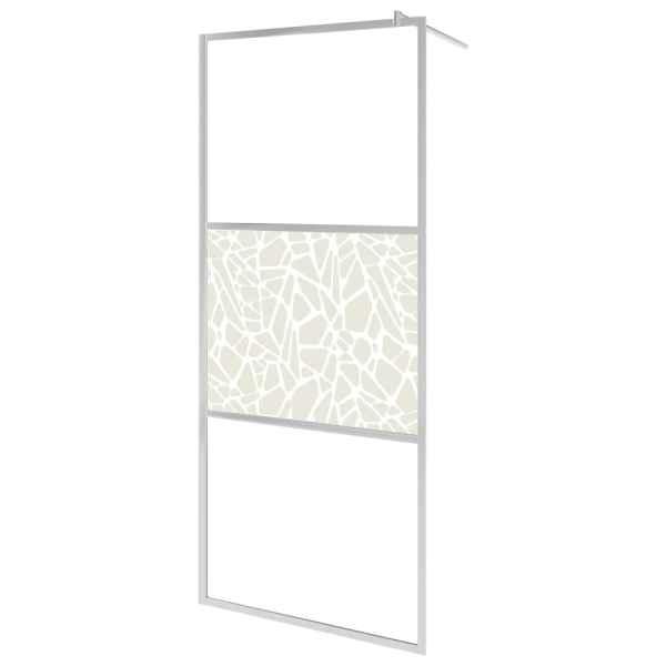 Paravan de duș walk-in, 140 x 195 cm, sticlă ESG, model piatră