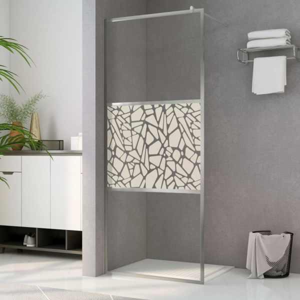 vidaXL Paravan de duș walk-in, 140 x 195 cm, sticlă ESG, model piatră