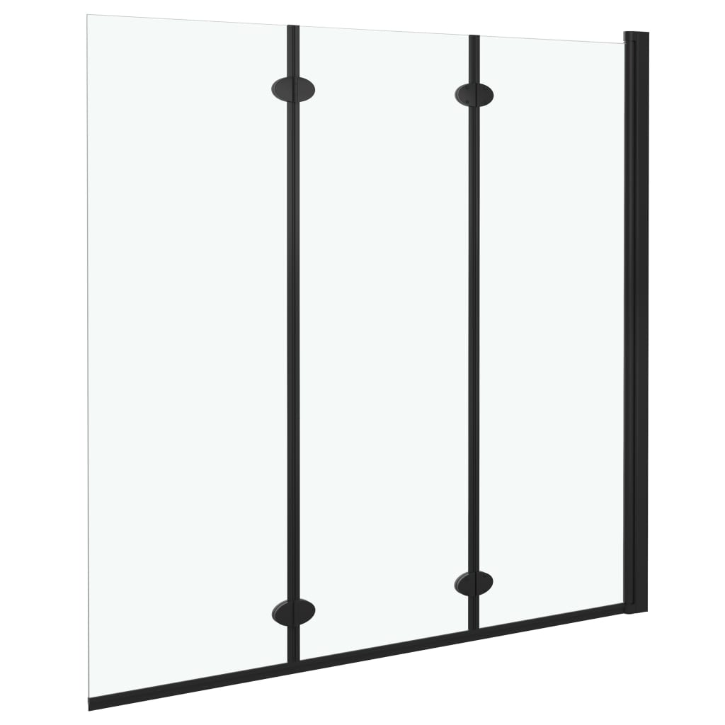 Cabină de duș pliabilă, 3 panouri, negru, 130 x 138 cm, ESG