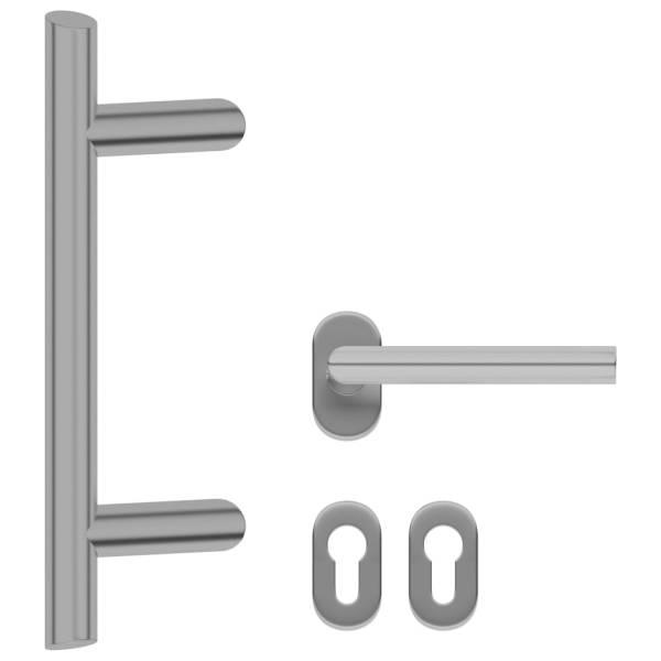 vidaXL Set de mâner și bară pentru ușă, 350 mm, oțel inoxidabil
