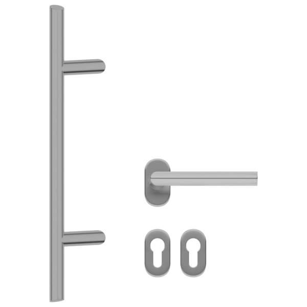 vidaXL Set de mâner și bară pentru ușă PZ 500 mm oțel inoxidabil