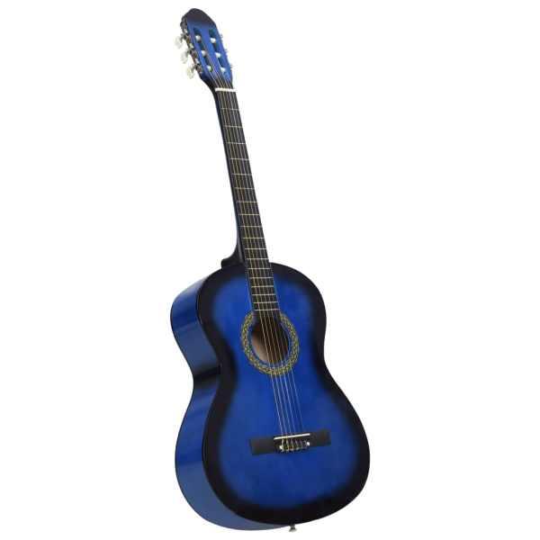 vidaXL Chitară clasică pentru începători, cu husă, albastru 4/4 39″