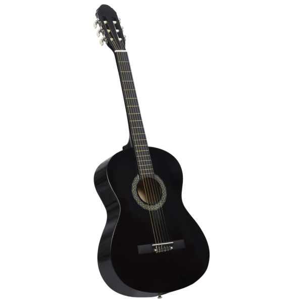 Chitară clasică pentru începători, cu husă, negru, 4/4 39″