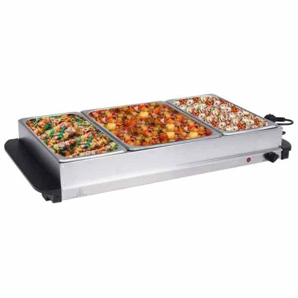 vidaXL Încălzitor de servire bufet 400 W, 2×2,5L+1x4L, oțel inoxidabil