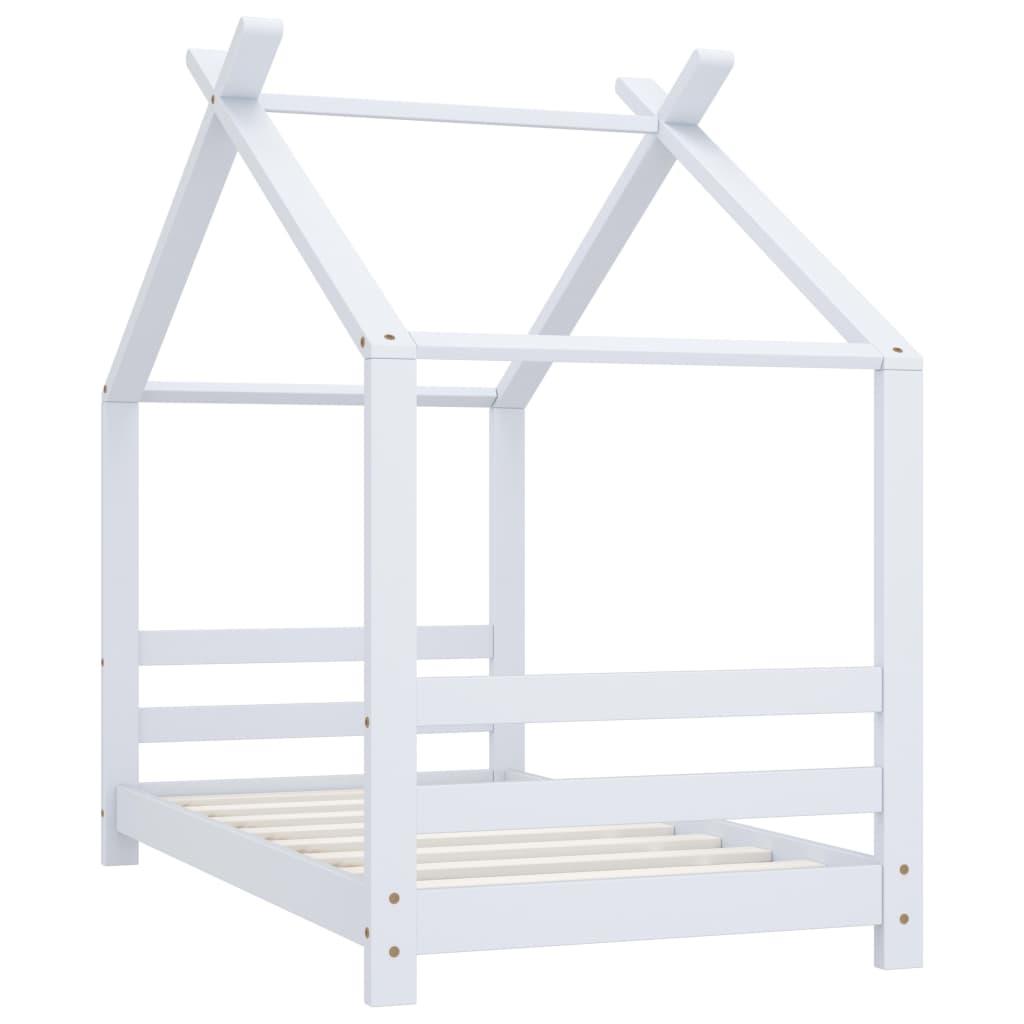 Cadru pat de copii, alb, 70 x 140 cm, lemn masiv de pin