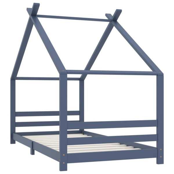 Cadru de pat pentru copii, gri, 90 x 200 cm, lemn masiv de pin