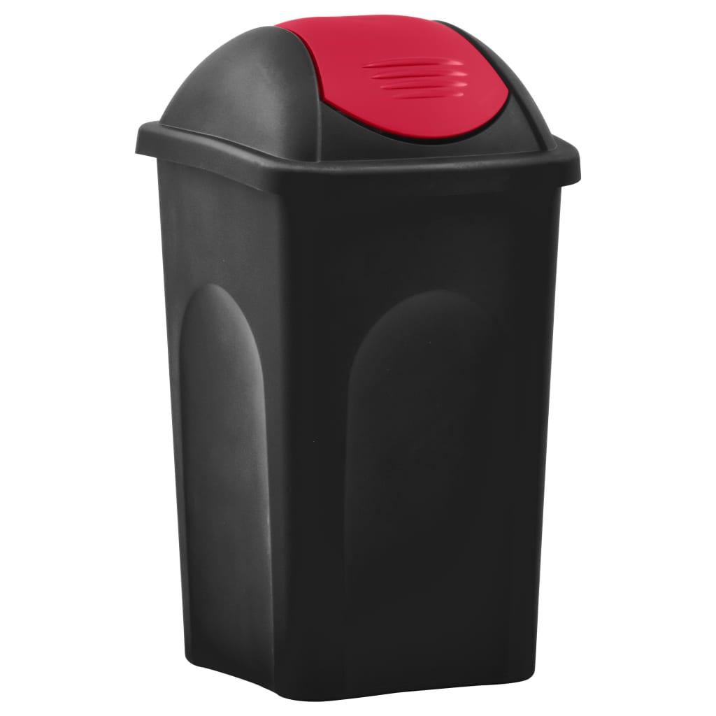 vidaXL Coș de gunoi cu capac oscilant, negru și roșu, 60L