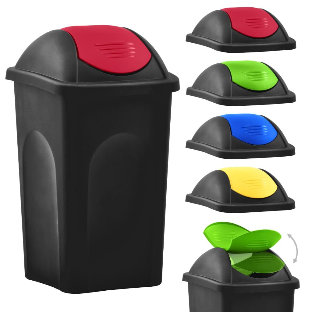 Coș de gunoi cu capac oscilant, negru și roșu, 60L