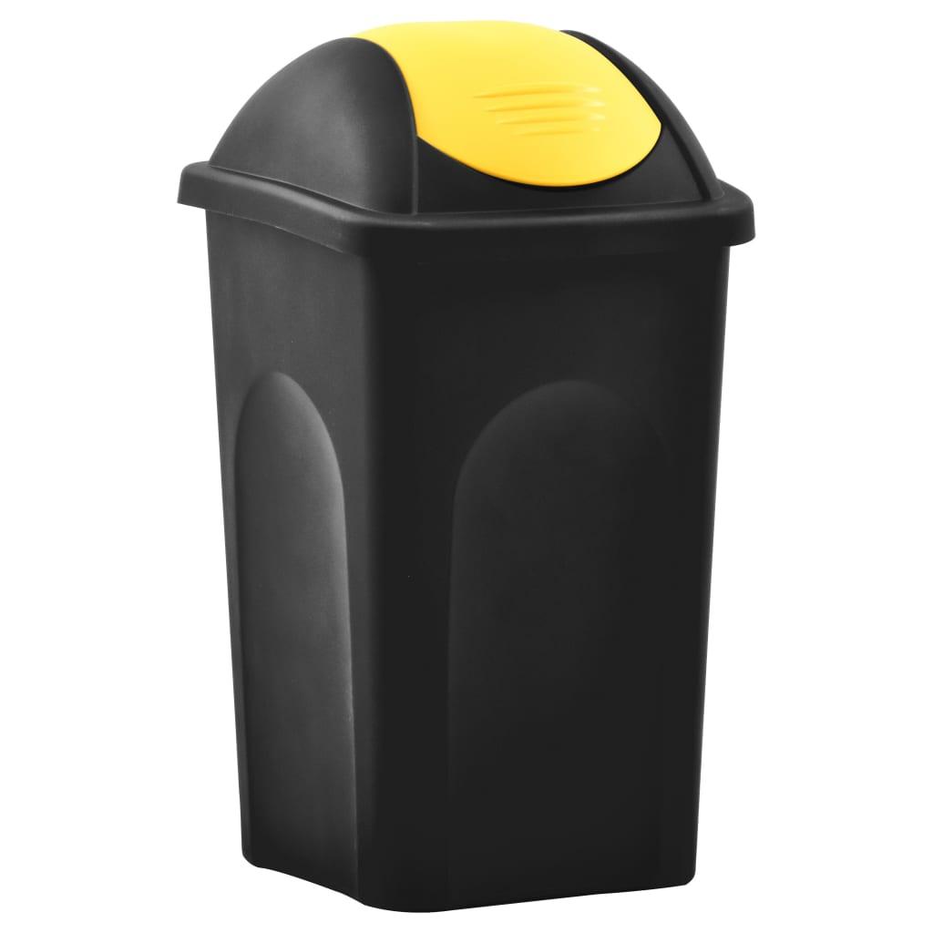 vidaXL Coș de gunoi cu capac oscilant, negru și galben, 60L