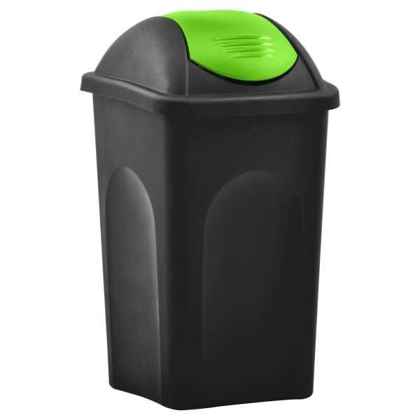 vidaXL Coș de gunoi cu capac oscilant, negru și verde, 60L
