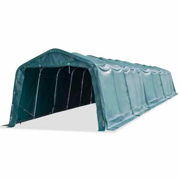 vidaXL Cort mobil pentru animale verde închis 3,3×16 m PVC 550 g/m²