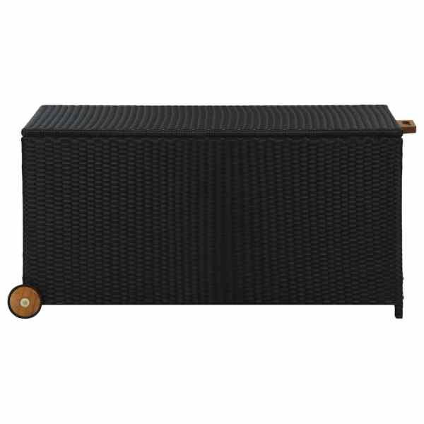 vidaXL Ladă de depozitare de grădină, negru, 130x65x115 cm, poliratan