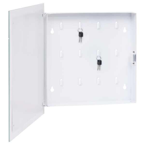 vidaXL Casetă pentru chei cu tablă magnetică, alb, 35 x 35 x 5,5 cm