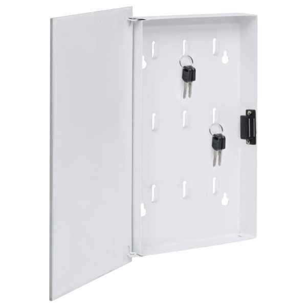 vidaXL Casetă pentru chei cu tablă magnetică, alb, 30 x 20 x 5,5 cm