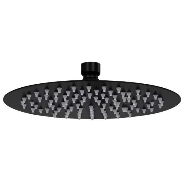 vidaXL Cap de duș tip ploaie rotund, negru, 20 cm, oțel inoxidabil