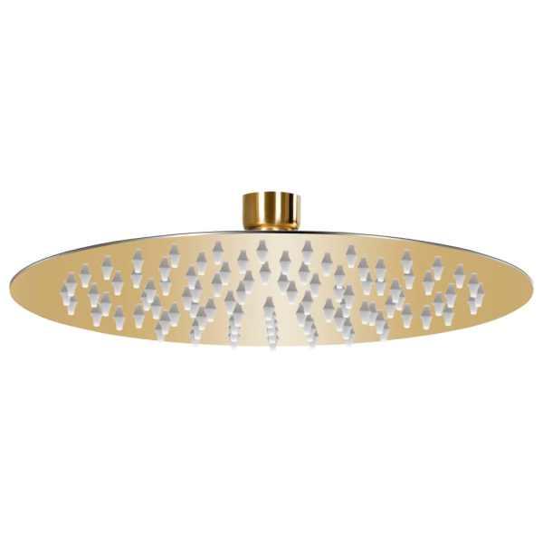 vidaXL Cap de duș tip ploaie rotund, auriu, 20 cm, oțel inoxidabil