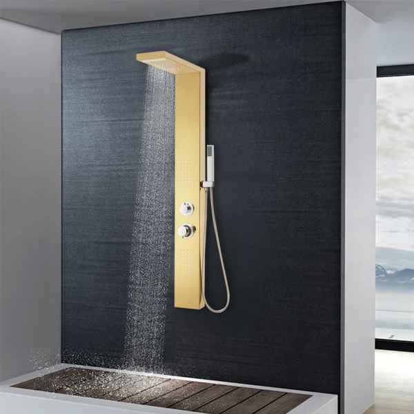 vidaXL Sistem panou de duș, auriu, oțel inoxidabil 201